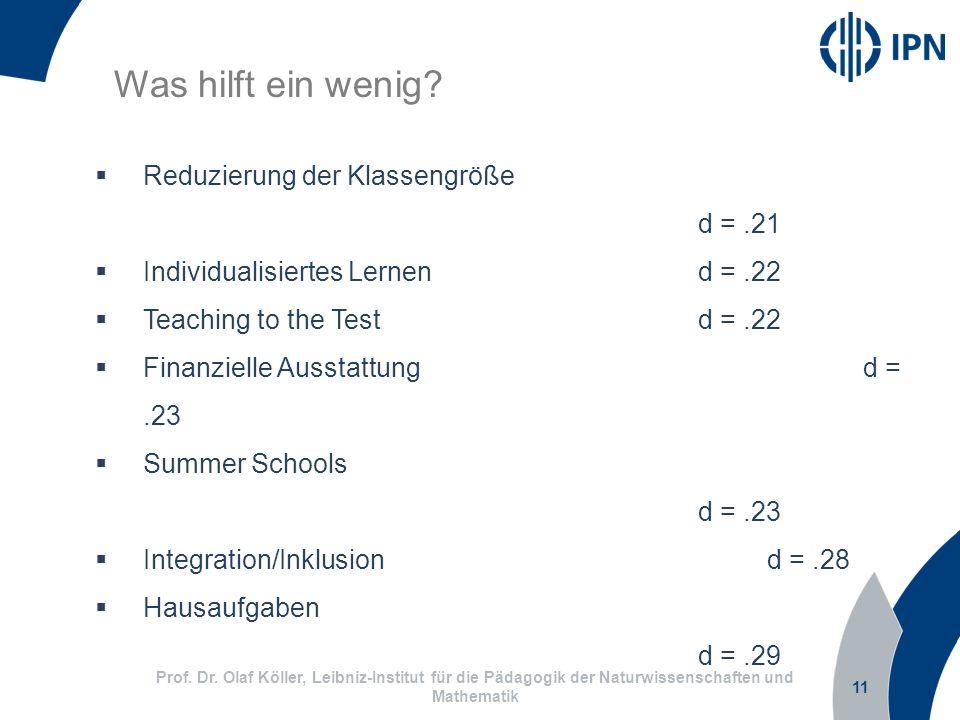 11 Prof. Dr. Olaf Köller, Leibniz-Institut für die Pädagogik der Naturwissenschaften und Mathematik Was hilft ein wenig? Reduzierung der Klassengröße