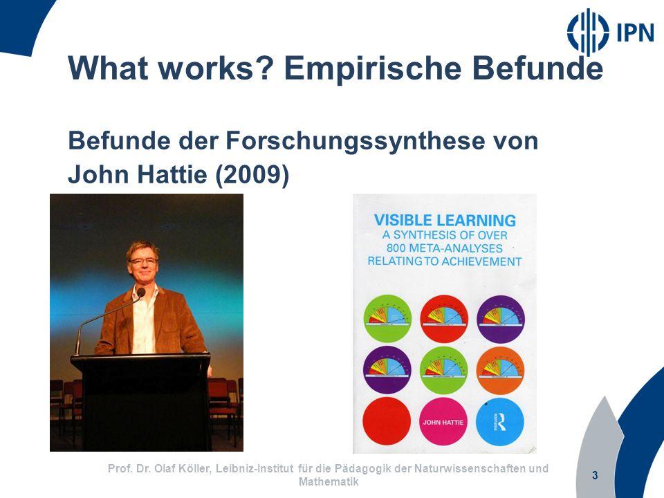 3 Prof. Dr. Olaf Köller, Leibniz-Institut für die Pädagogik der Naturwissenschaften und Mathematik What works? Empirische Befunde Befunde der Forschun
