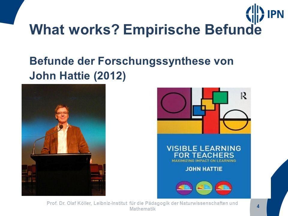 4 Prof. Dr. Olaf Köller, Leibniz-Institut für die Pädagogik der Naturwissenschaften und Mathematik What works? Empirische Befunde Befunde der Forschun