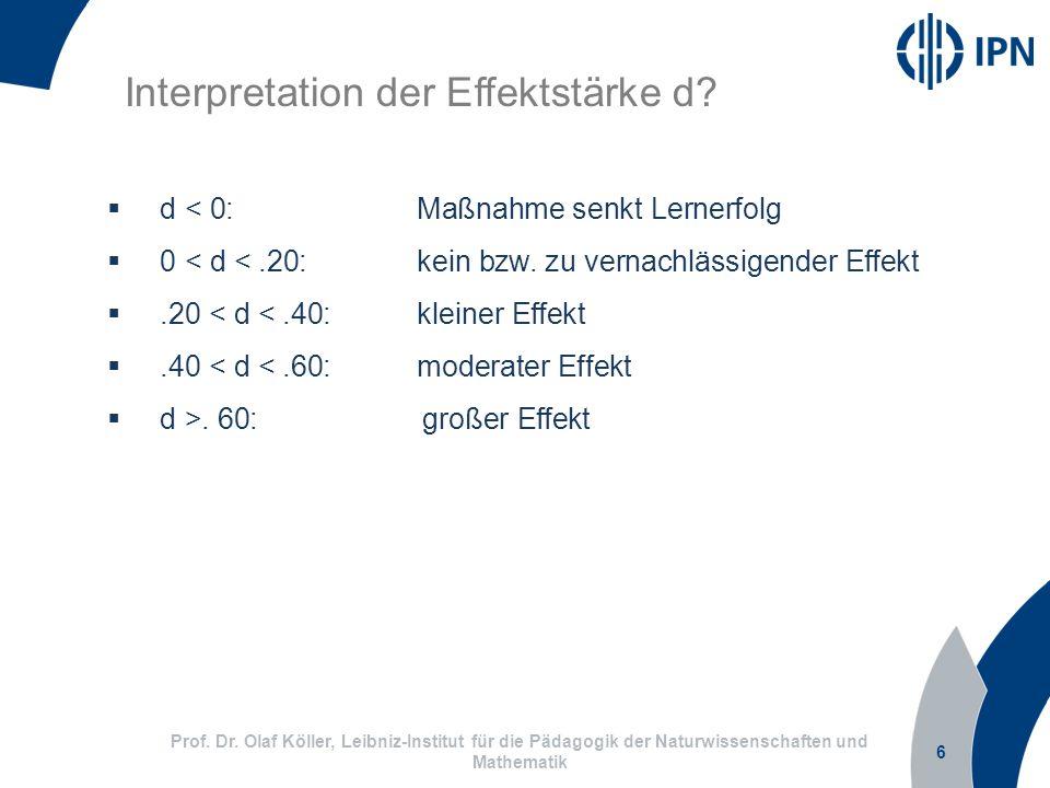 6 Prof. Dr. Olaf Köller, Leibniz-Institut für die Pädagogik der Naturwissenschaften und Mathematik Interpretation der Effektstärke d? d < 0: Maßnahme