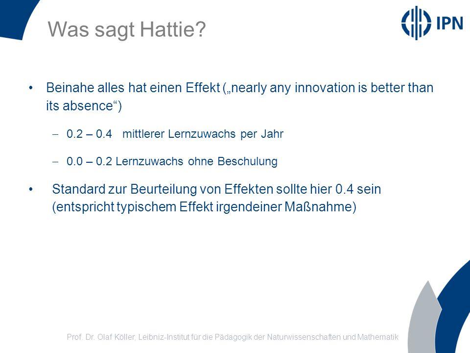 Was sagt Hattie? Prof. Dr. Olaf Köller, Leibniz-Institut für die Pädagogik der Naturwissenschaften und Mathematik Beinahe alles hat einen Effekt (near