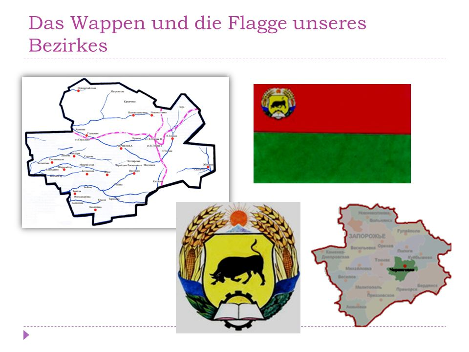 Das Wappen und die Flagge unseres Bezirkes