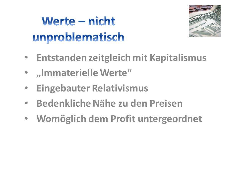 Entstanden zeitgleich mit Kapitalismus Immaterielle Werte Eingebauter Relativismus Bedenkliche Nähe zu den Preisen Womöglich dem Profit untergeordnet