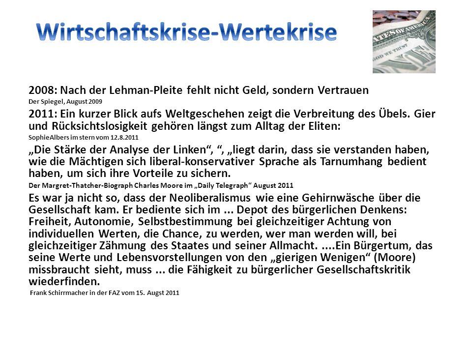 2008: Nach der Lehman-Pleite fehlt nicht Geld, sondern Vertrauen Der Spiegel, August 2009 2011: Ein kurzer Blick aufs Weltgeschehen zeigt die Verbreitung des Übels.