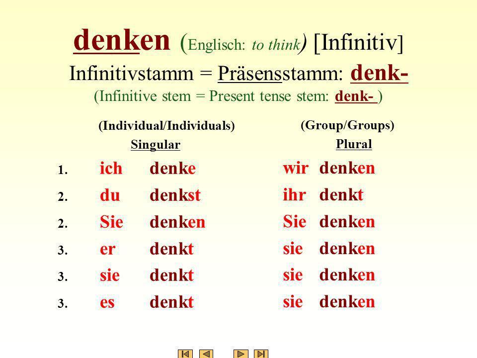 denken ( Englisch: to think ) [Infinitiv ] Infinitivstamm = Präsensstamm: denk- (Infinitive stem = Present tense stem: denk- ) (Individual/Individuals