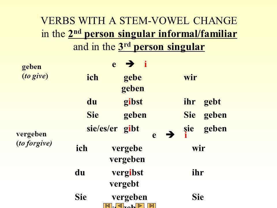 ich gebewir geben du gibstihr gebt Sie gebenSie geben sie/es/er gibtsie geben VERBS WITH A STEM-VOWEL CHANGE in the 2 nd person singular informal/fami