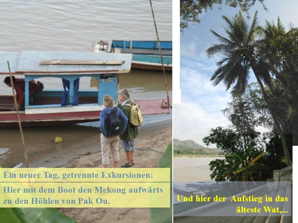 Hier mit dem Boot den Mekong aufwärts zu den Höhlen von Pak Ou.