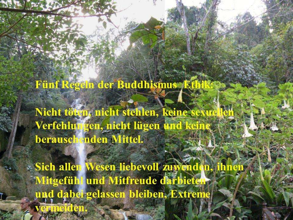 Fünf Regeln der Buddhismus Ethik: Nicht töten, nicht stehlen, keine sexuellen Verfehlungen, nicht lügen und keine berauschenden Mittel.