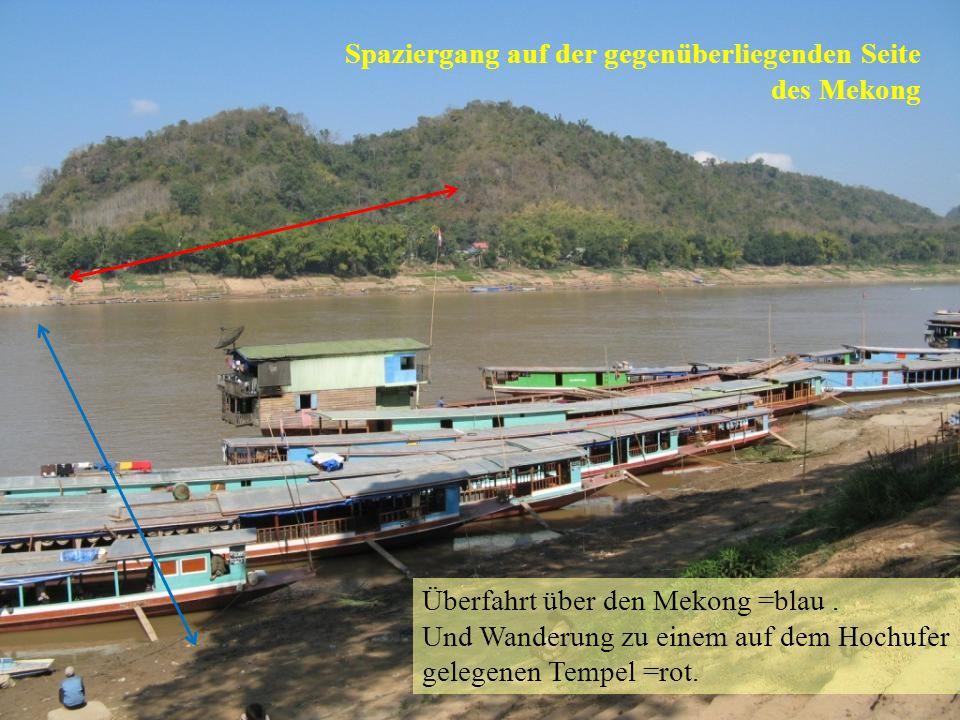 Überfahrt über den Mekong =blau. Und Wanderung zu einem auf dem Hochufer gelegenen Tempel =rot.
