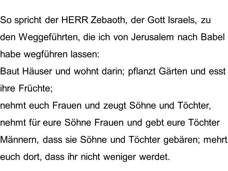 So spricht der HERR Zebaoth, der Gott Israels, zu den Weggeführten, die ich von Jerusalem nach Babel habe wegführen lassen: Baut Häuser und wohnt dari