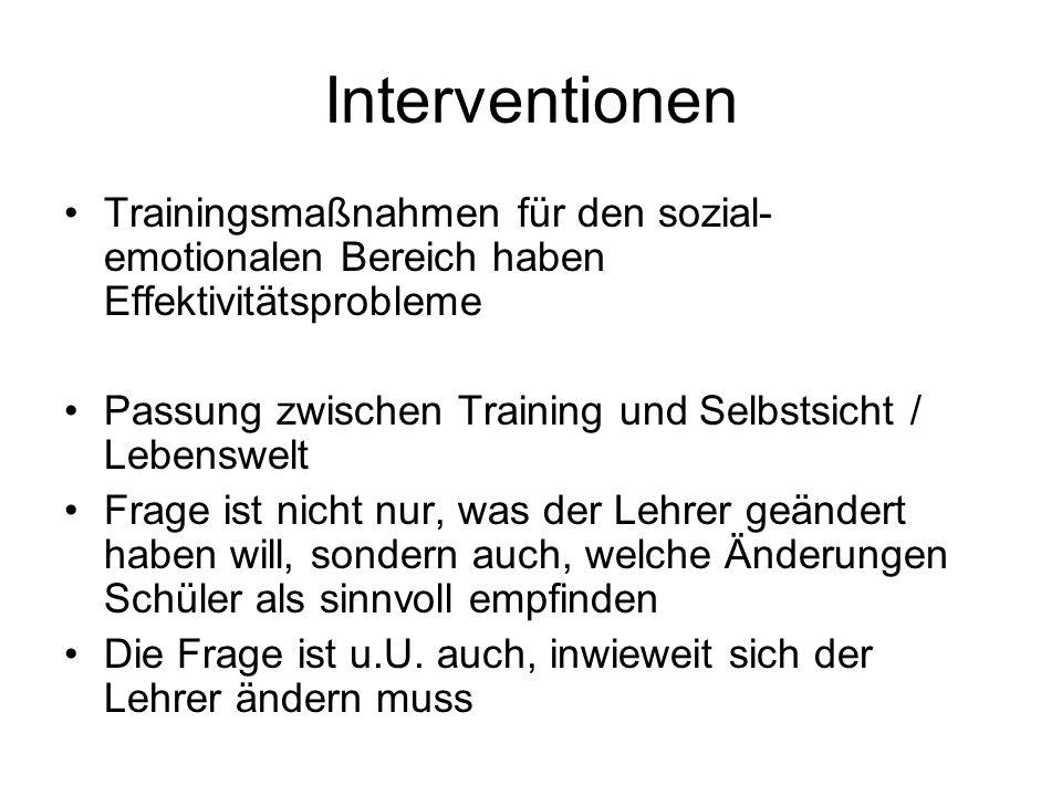 Interventionen Trainingsmaßnahmen für den sozial- emotionalen Bereich haben Effektivitätsprobleme Passung zwischen Training und Selbstsicht / Lebenswelt Frage ist nicht nur, was der Lehrer geändert haben will, sondern auch, welche Änderungen Schüler als sinnvoll empfinden Die Frage ist u.U.