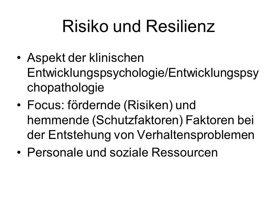 Risiko und Resilienz Aspekt der klinischen Entwicklungspsychologie/Entwicklungspsy chopathologie Focus: fördernde (Risiken) und hemmende (Schutzfaktoren) Faktoren bei der Entstehung von Verhaltensproblemen Personale und soziale Ressourcen