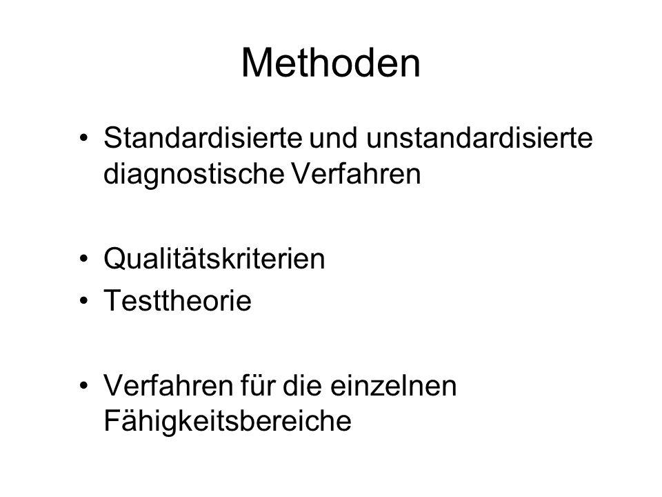 Methoden Standardisierte und unstandardisierte diagnostische Verfahren Qualitätskriterien Testtheorie Verfahren für die einzelnen Fähigkeitsbereiche
