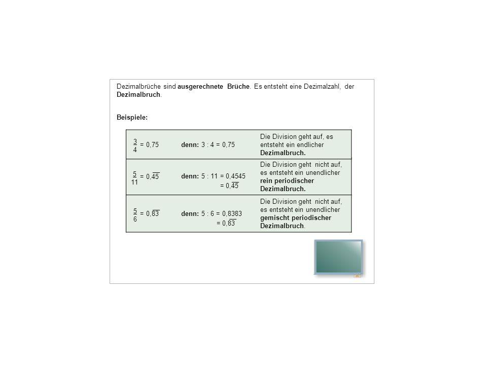 Dezimalbrüche sind ausgerechnete Brüche. Es entsteht eine Dezimalzahl, der Dezimalbruch. Beispiele: = 0,83denn: 5 : 6 = 0,8383 = 0,83 Die Division geh