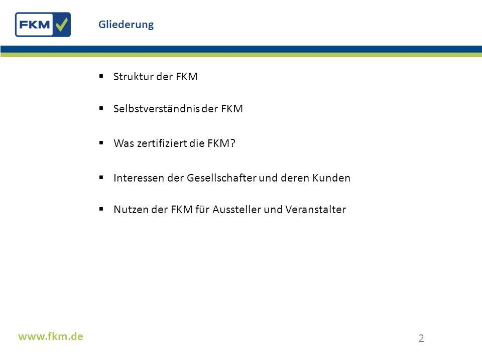 Struktur der FKM Selbstverständnis der FKM Was zertifiziert die FKM? Interessen der Gesellschafter und deren Kunden Nutzen der FKM für Aussteller und