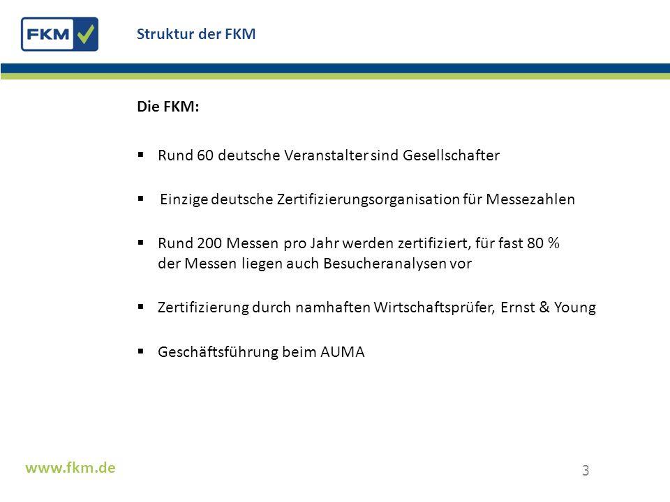 Die FKM: Rund 60 deutsche Veranstalter sind Gesellschafter Einzige deutsche Zertifizierungsorganisation für Messezahlen Rund 200 Messen pro Jahr werde