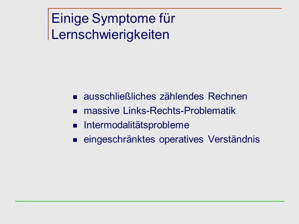Einige Symptome für Lernschwierigkeiten ausschließliches zählendes Rechnen massive Links-Rechts-Problematik Intermodalitätsprobleme eingeschränktes operatives Verständnis