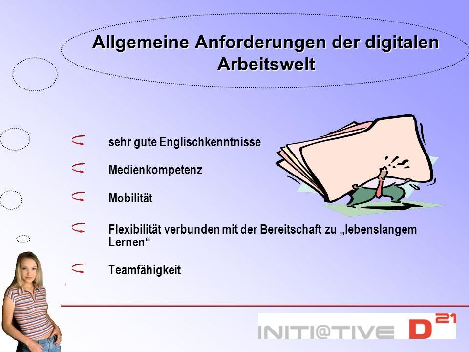 Allgemeine Anforderungen der digitalen Arbeitswelt sehr gute Englischkenntnisse Medienkompetenz Mobilität Flexibilität verbunden mit der Bereitschaft