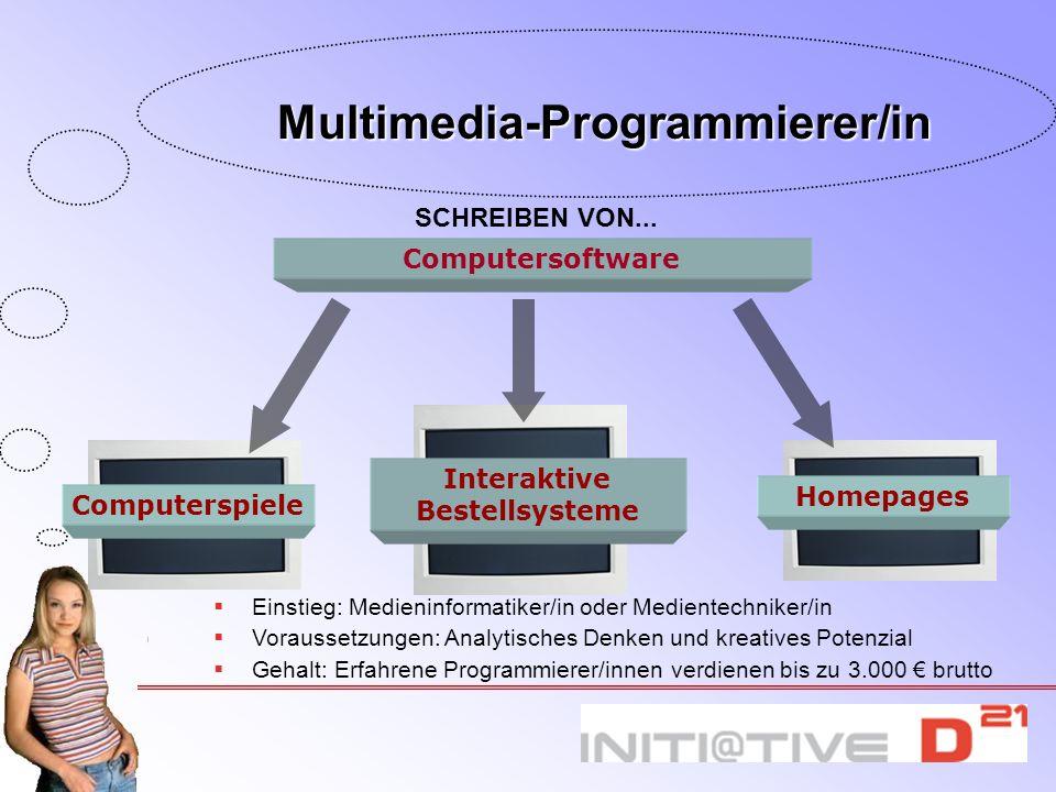 SCHREIBEN VON... Interaktive Bestellsysteme Homepages Computerspiele Computersoftware Einstieg: Medieninformatiker/in oder Medientechniker/in Vorausse