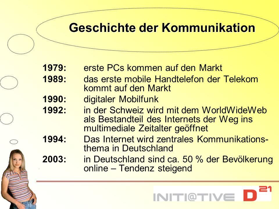 Geschichte der Kommunikation 1979:erste PCs kommen auf den Markt 1989:das erste mobile Handtelefon der Telekom kommt auf den Markt 1990:digitaler Mobi