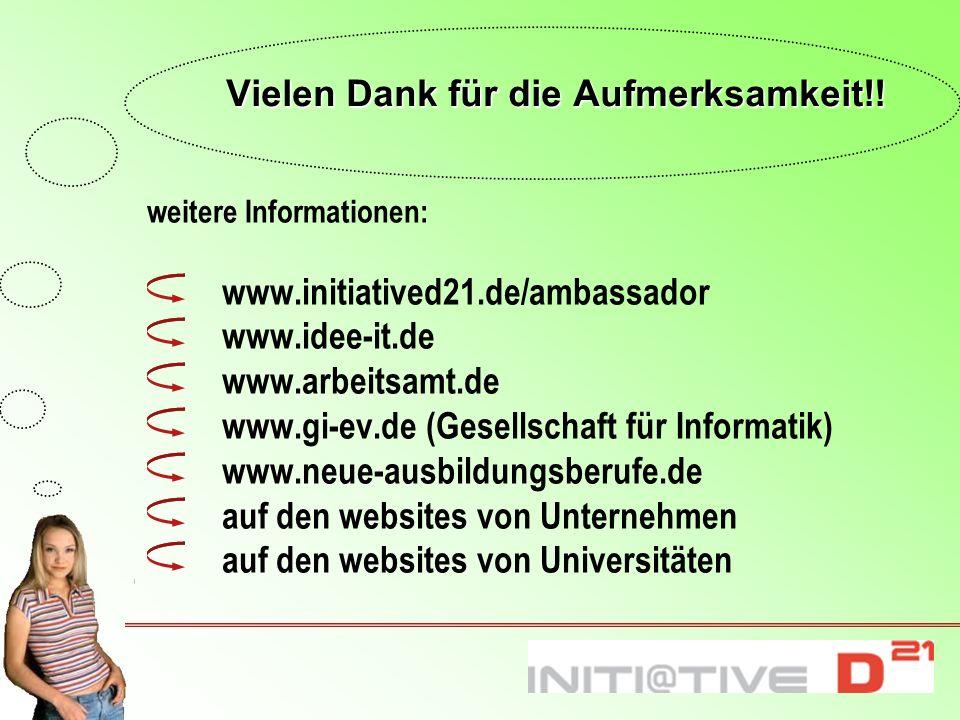 Vielen Dank für die Aufmerksamkeit!! weitere Informationen: www.initiatived21.de/ambassador www.idee-it.de www.arbeitsamt.de www.gi-ev.de (Gesellschaf