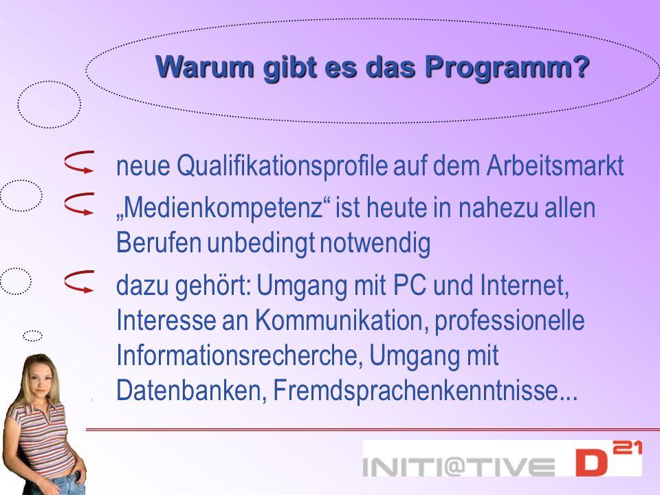 Warum gibt es das Programm? neue Qualifikationsprofile auf dem Arbeitsmarkt Medienkompetenz ist heute in nahezu allen Berufen unbedingt notwendig dazu