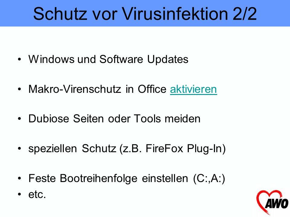 Antivirenprogramm (aktualisieren!) Regelmässige Backups (Datensicherung) E-Mail Anhänge unbekannter Absender ignorieren Endung Dateitypen anzeigen las