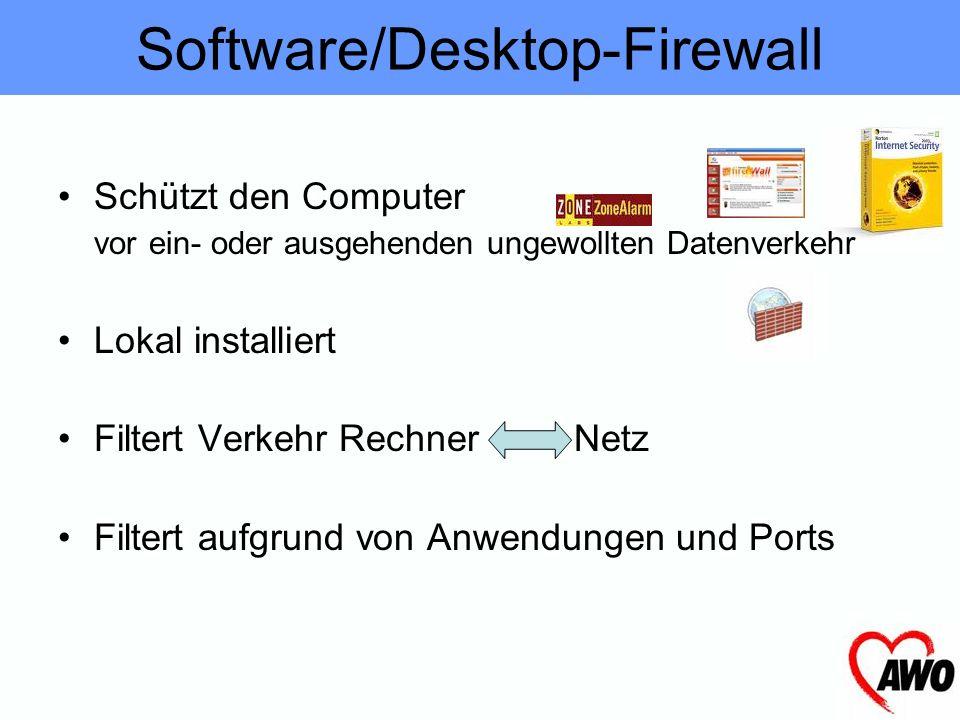 Trennt Netze voneinander, verhindert eingehenden ungewollten Datenverkehr. Hardware-Firewall