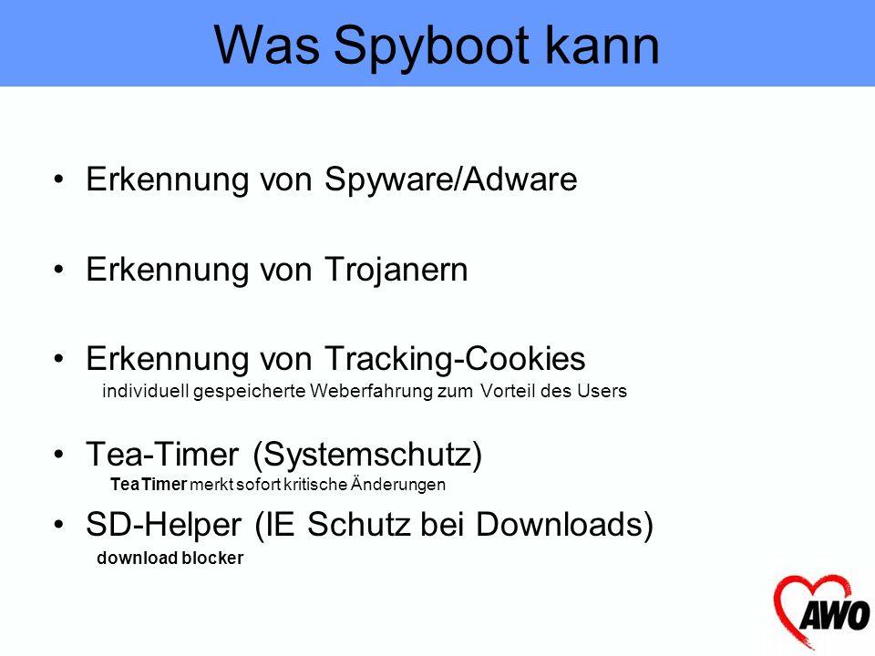 Die wichtigsten Funktionen Spyboot