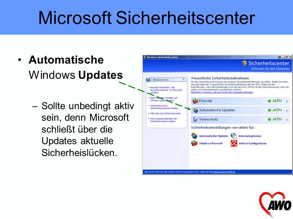 Automatische Windows Updates –Sollte unbedingt aktiv sein, denn Microsoft schließt über die Updates aktuelle Sicherheislücken.