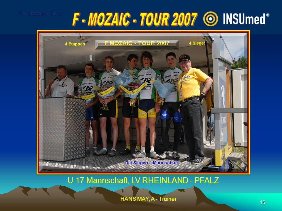 15 F – Mozaic - Tour U 17 Mannschaft, LV RHEINLAND - PFALZ HANS MAY, A - Trainer