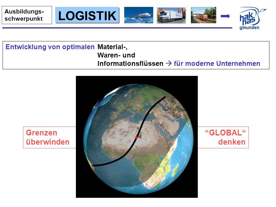 GLOBAL denken Grenzen überwinden LOGISTIK Ausbildungs- schwerpunkt Entwicklung von optimalen Material-, Waren- und Informationsflüssen für moderne Unt