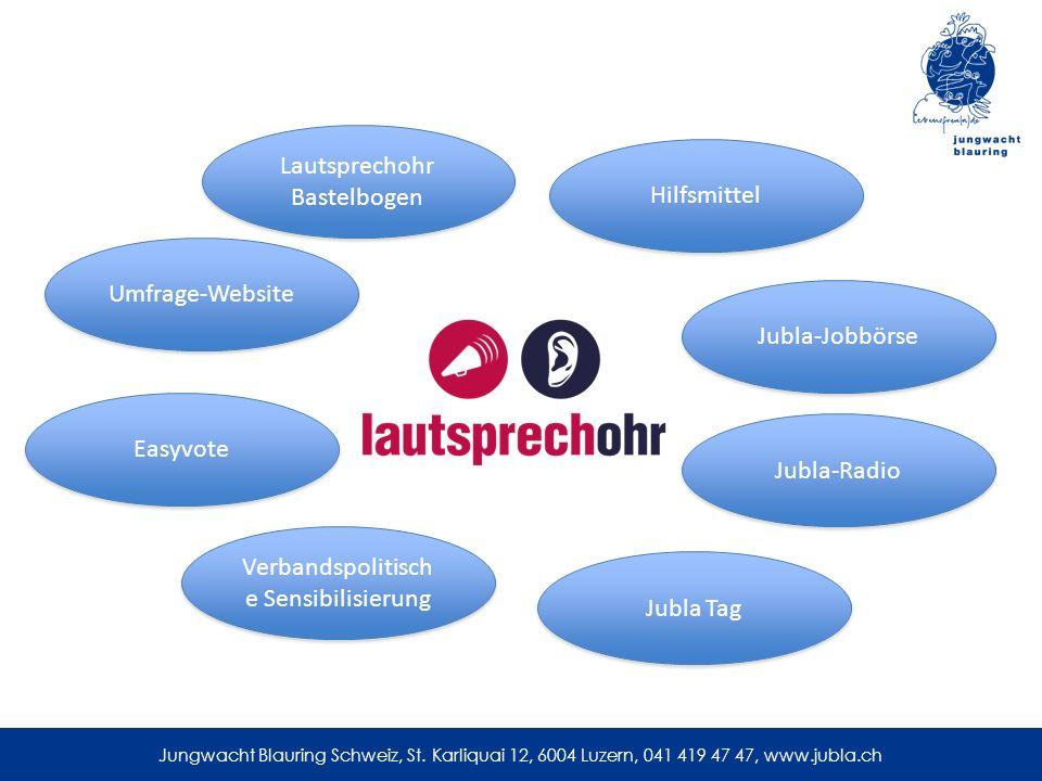 Lautsprechohr Bastelbogen Hilfsmittel Jubla-Jobbörse Jubla-Radio Jubla Tag Umfrage-Website Easyvote Verbandspolitisch e Sensibilisierung