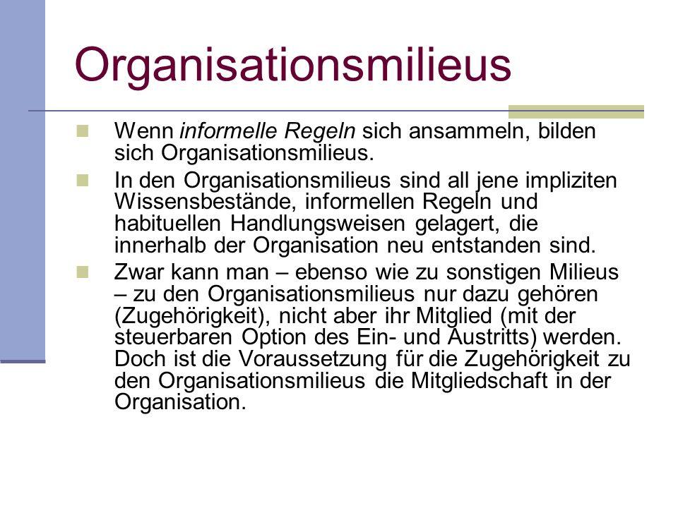 Organisationsmilieus Wenn informelle Regeln sich ansammeln, bilden sich Organisationsmilieus.