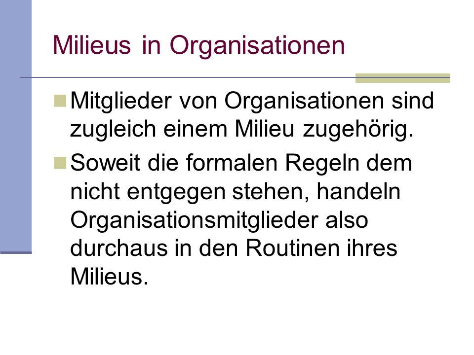 Milieus in Organisationen Mitglieder von Organisationen sind zugleich einem Milieu zugehörig.