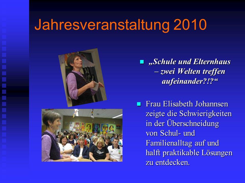 Jahresveranstaltung 2010 Frau Elisabeth Johannsen zeigte die Schwierigkeiten in der Überschneidung von Schul- und Familienalltag auf und halft praktik