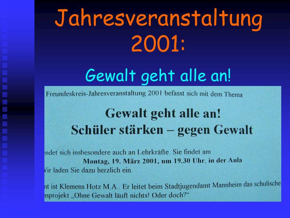 Jahresveranstaltung 2001: Gewalt geht alle an!