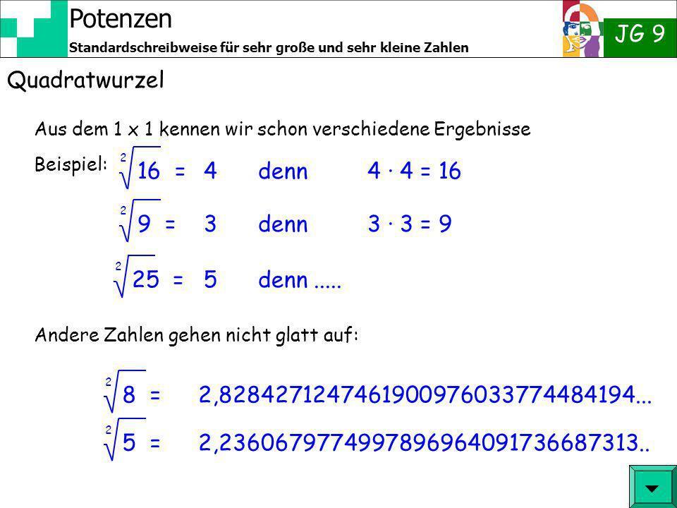 Potenzen JG 9 Standardschreibweise für sehr große und sehr kleine Zahlen Quadratwurzel Aus dem 1 x 1 kennen wir schon verschiedene Ergebnisse Beispiel