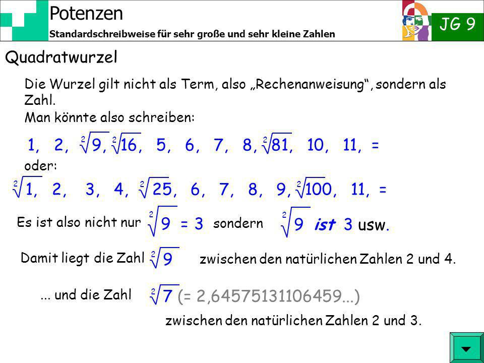 Potenzen JG 9 Standardschreibweise für sehr große und sehr kleine Zahlen Quadratwurzel Man kann bei einigen Zahlen vorhersehen, ob das Ergebnis einer Wurzel eine glatte Zahl ergibt: Beispiel: 16 = 4 2 1600 = 40 2 aber: 160 = 12,64911064 2 36 = 6 2 3600 = 60 2 aber: 360 = 18,97366596 2 Du kommst selber drauf.