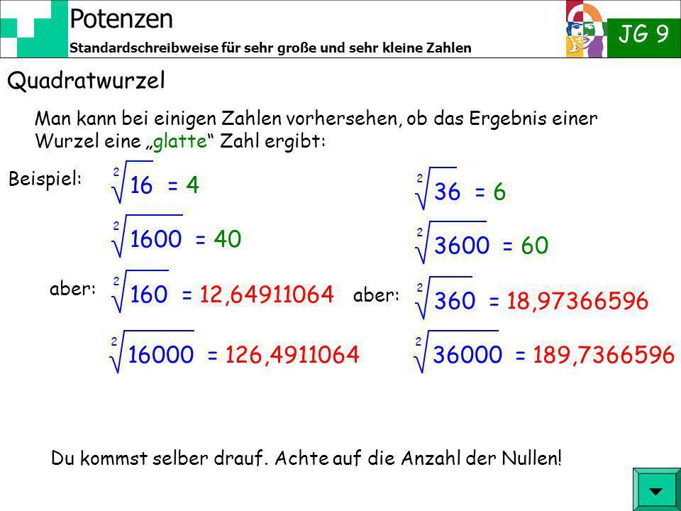 Potenzen JG 9 Standardschreibweise für sehr große und sehr kleine Zahlen Quadratwurzel Man kann bei einigen Zahlen vorhersehen, ob das Ergebnis einer