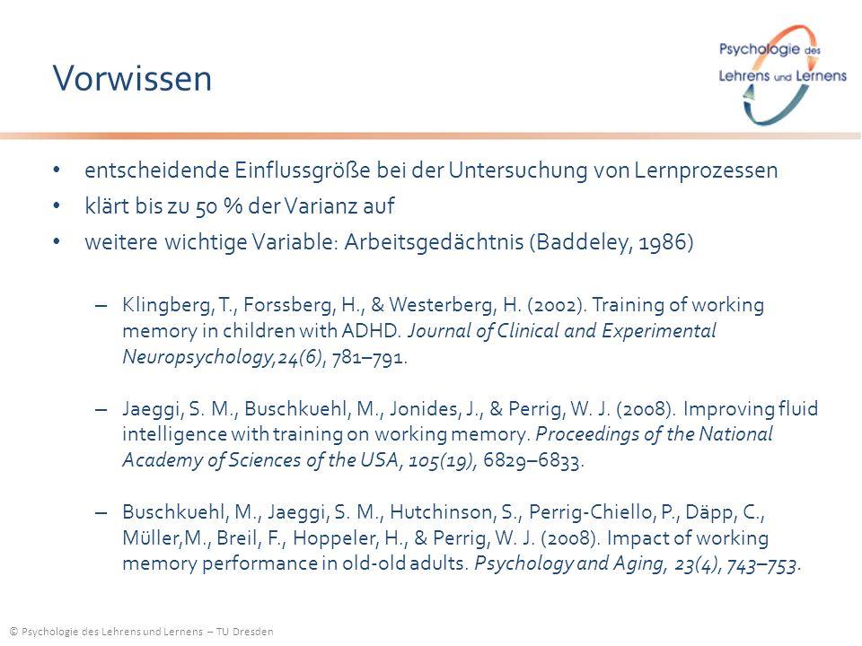 © Psychologie des Lehrens und Lernens – TU Dresden Vorwissen entscheidende Einflussgröße bei der Untersuchung von Lernprozessen klärt bis zu 50 % der