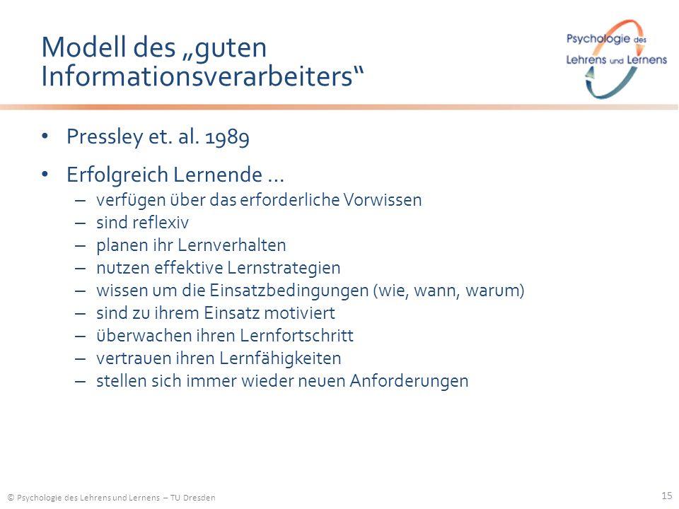 © Psychologie des Lehrens und Lernens – TU Dresden Modell des guten Informationsverarbeiters Pressley et. al. 1989 Erfolgreich Lernende … – verfügen ü