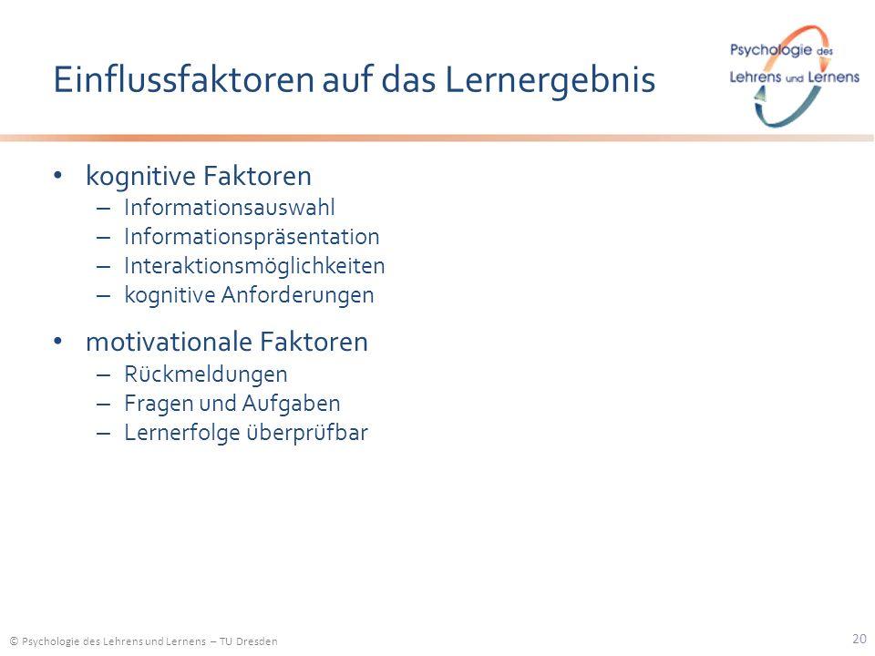 © Psychologie des Lehrens und Lernens – TU Dresden Einflussfaktoren auf das Lernergebnis kognitive Faktoren – Informationsauswahl – Informationspräsen