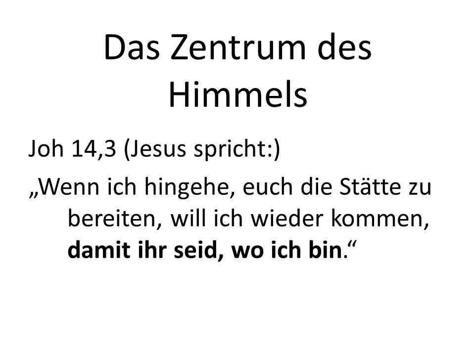 Das Zentrum des Himmels Offenbarung 21,2-4 Und ich sah die heilige Stadt, das neue Jerusalem: … Siehe da, die Hütte Gottes bei den Menschen.