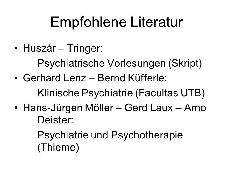 Empfohlene Literatur Huszár – Tringer: Psychiatrische Vorlesungen (Skript) Gerhard Lenz – Bernd Küfferle: Klinische Psychiatrie (Facultas UTB) Hans-Jü