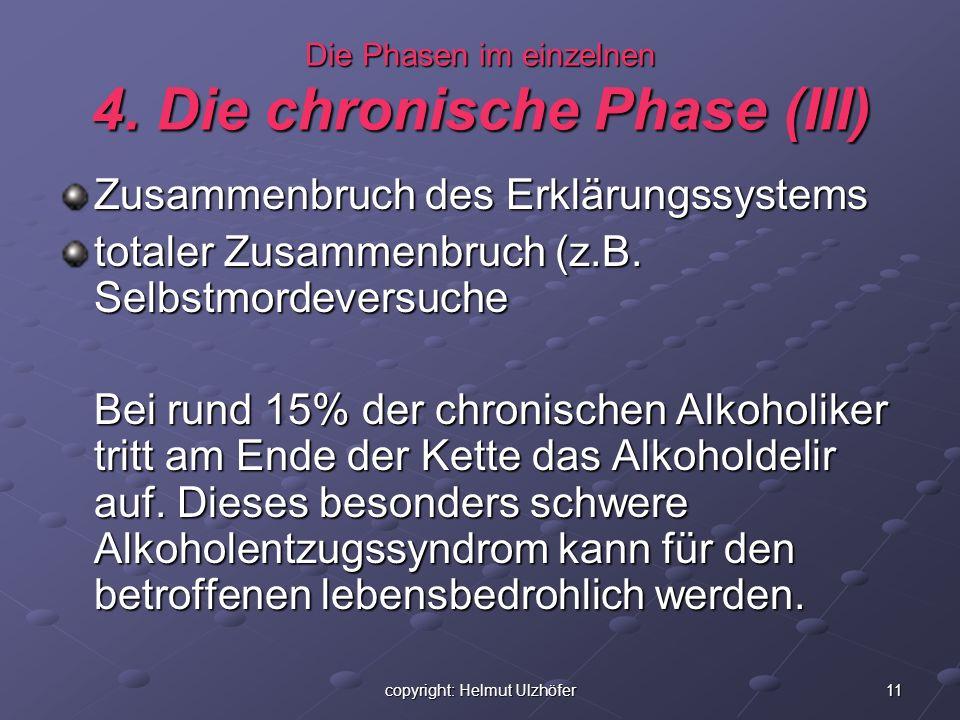 11copyright: Helmut Ulzhöfer Die Phasen im einzelnen 4. Die chronische Phase (III) Zusammenbruch des Erklärungssystems totaler Zusammenbruch (z.B. Sel