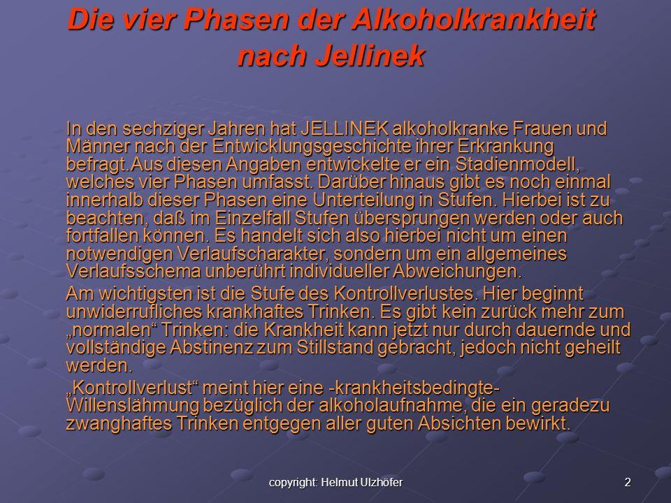 2copyright: Helmut Ulzhöfer Die vier Phasen der Alkoholkrankheit nach Jellinek In den sechziger Jahren hat JELLINEK alkoholkranke Frauen und Männer na