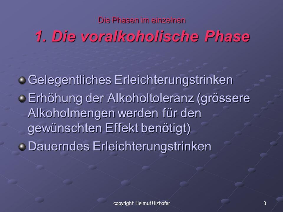 3 Die Phasen im einzelnen 1. Die voralkoholische Phase Gelegentliches Erleichterungstrinken Erhöhung der Alkoholtoleranz (grössere Alkoholmengen werde