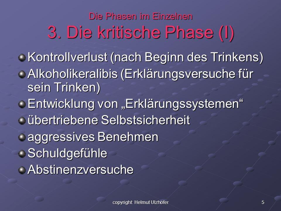 5copyright: Helmut Ulzhöfer Die Phasen im Einzelnen 3. Die kritische Phase (I) Kontrollverlust (nach Beginn des Trinkens) Alkoholikeralibis (Erklärung