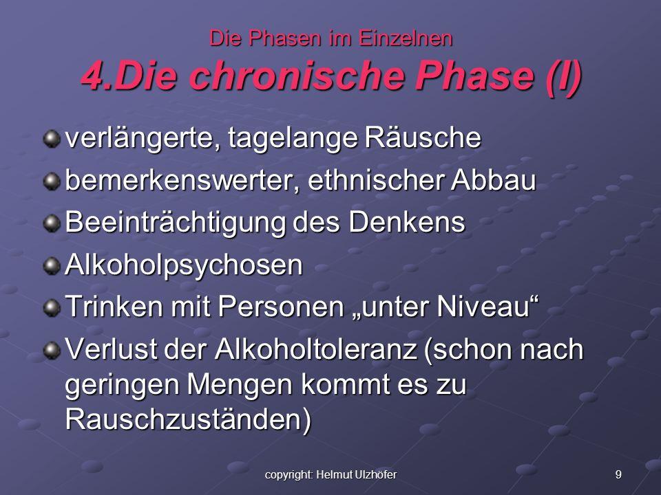 9copyright: Helmut Ulzhöfer Die Phasen im Einzelnen 4.Die chronische Phase (I) verlängerte, tagelange Räusche bemerkenswerter, ethnischer Abbau Beeint